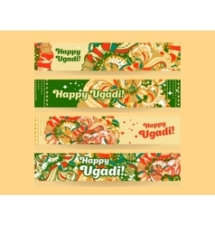 Happy ugadigudi padwa hindu banner templates set vector