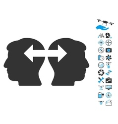 Heads exchange arrows icon with copter tools bonus vector