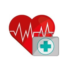 Heart cardiogram and first aid kit icon vector
