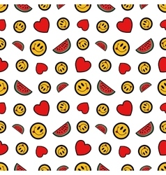 Hearts Smile and Watermelons Seamless Pattern vector image