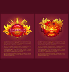 hot barbeque party posters burning badges vector image