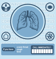 Human lungs in center and icons around vector