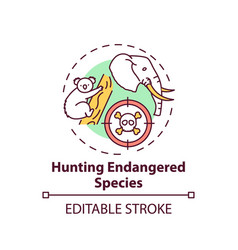 Hunting endangered species concept icon vector