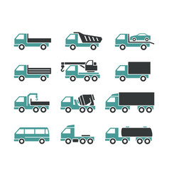 Icons of different trucks vector