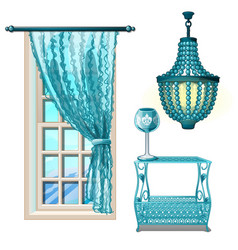 Items vintage interior in turquoise color isolated vector