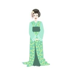 Japanese Geisha In Turquoise Kimono vector image