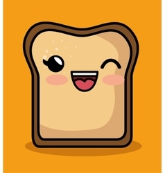 kawaii cute breakfast bread slice icon vector image