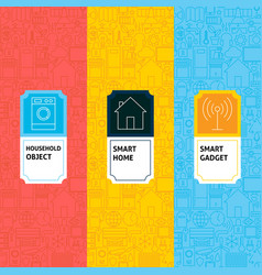 line smart home patterns set vector image
