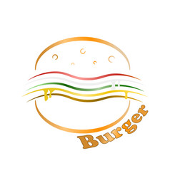 Logo of the burger on a white vector