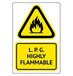 Lpg highly flammable vector