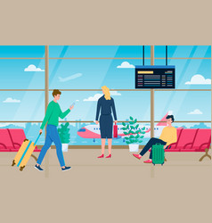 Man women with luggage in airport hall carry vector