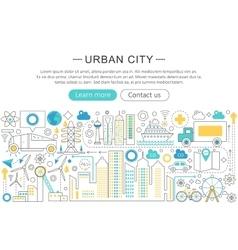 modern line flat design Urban city concept vector image