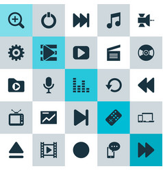 Music icons set collection of movie karaoke vector