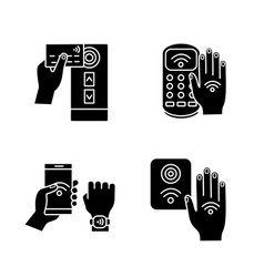 Nfc technology glyph icons set vector