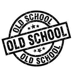 Old school round grunge black stamp vector