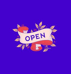 open retro greeting card vector image