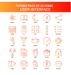 Orange futuro 25 user interface icon set vector