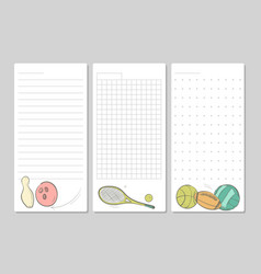 Pages for notes memo or to do lists with doodle vector