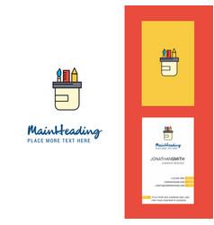 pencil box creative logo and business card vector image