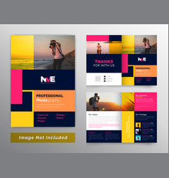 Photography colorful bifold brochure design vector