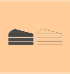 Piece of cake dark grey set icon vector