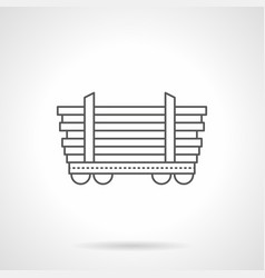 platform car for long freights line icon vector image