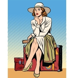 Retro girl passenger with a ticket vector
