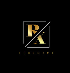 rx golden letter logo with cutted and intersected vector image