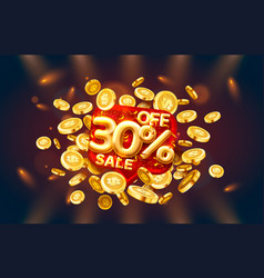 sale 30 off ballon number on red background vector image