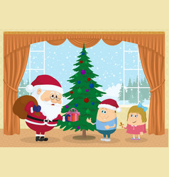 santa claus giving presents vector image