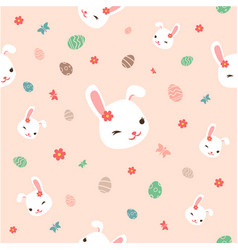 seamless easter pattern with flowersbunnies vector image