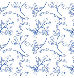 seamless pattern with mistletoe vector image