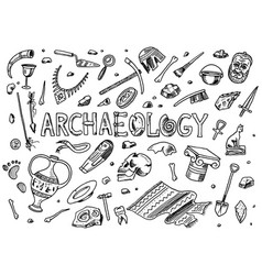 set archeology tools science equipment vector image
