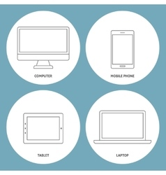 set electronic outline icons vector image
