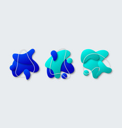 set of 3d abstract geometric liquid shapes vector image