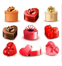 Set of colorful gift heart-shaped boxes with bows vector image