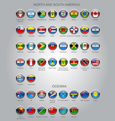 Set round glossy flags sovereign countries vector