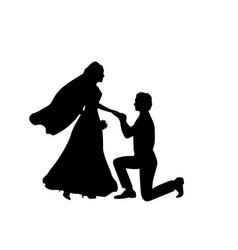 Silhouette groom kneeling puts ring on the vector