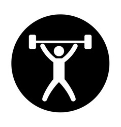 Silhouette of athlete practicing weight lifting vector