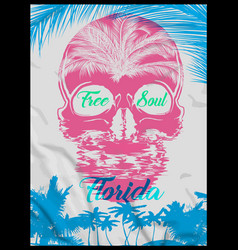 skull summer t shirt graphic design vector image