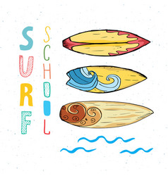 Surf boards hand drawn sketch t-shirt print vector