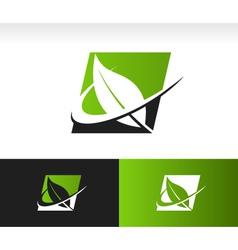Swoosh Green Leaf Panel Logo Icon vector image