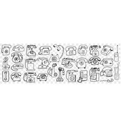 telephone set hand drawn doodle set vector image