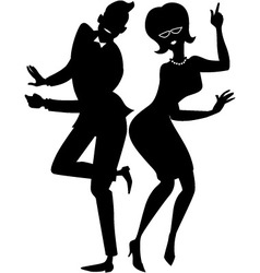 The twist couple silhouette vector image