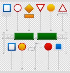 traffic signs color transparent set vector image