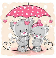 Two cute kittens with umbrella under the rain vector