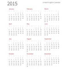 United Kingdom 2015 year calendar with week vector image