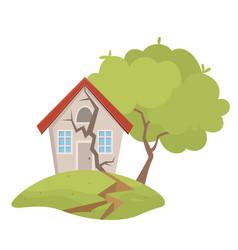 village house destruction earthquake vector image