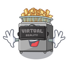 Virtual reality cooking french fries in deep fryer vector