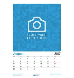 Wall Monthly Calendar Planner for 2017 Year August vector